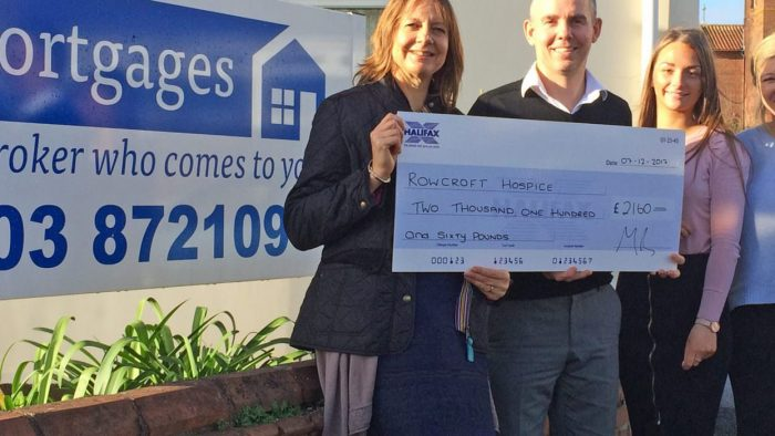 Mr Mortgages Cheque Presentation to Rowcroft Hospice