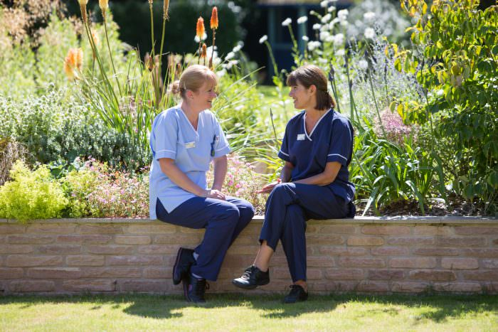 Rowcroft Hospice Nurses in the Hospice grounds