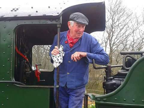 Dave on a steam train