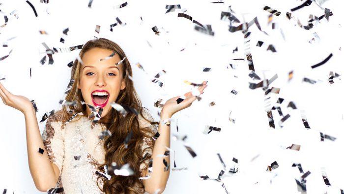 Girl Winning with Glitter